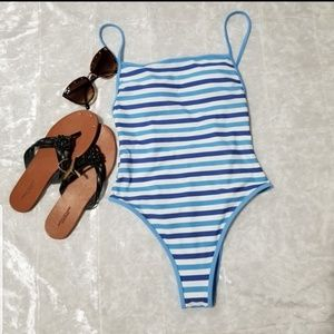 Aerie Blue Striped One Piece Swimsuit